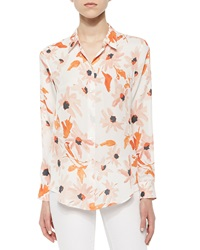 Theory Perfect Floral Print Blouse Lily Print