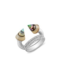 Vita Fede Titan Abalone And Double Crystal Band Ring Silver