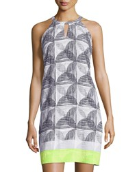 Laundry By Shelli Segal Printed Halter Shift Dress Lime Punch Multi