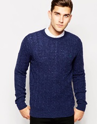 Jack Wills Jumper In Cable Knit Navy Donegal Navydonegal