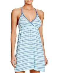Splendid Intimates Mesh Trim Chemise Tropical Multi Stripe Blue Lagoon