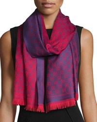 Gucci Reversible Wool Stencil Scarf Purple Red