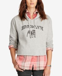 Denim And Supply Ralph Lauren Cropped Graphic Print Hoodie Graphic Multi