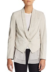 Brunello Cucinelli Suede And Silk Layered Vest Jacket Dove