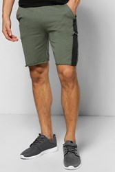 Boohoo Shorts With Raw Edge And Side Taping Khaki