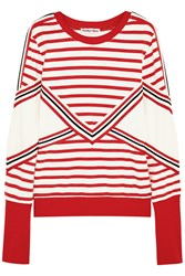 See By Chloe Striped Stretch Cotton Jersey Sweatshirt Red