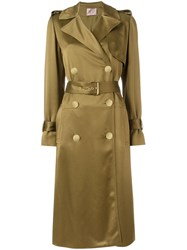Lanvin Belted Trench Coat Green