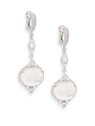 Judith Ripka Allure White Sapphire Rock Crystal Mother Of Pearl And Sterling Silver Drop Earrings