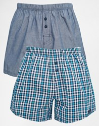 Esprit 2 Pack Woven Boxers Green