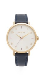 Nixon Arrow Leather Watch Grey Navy