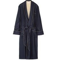 Derek Rose Roe Duke Herringbone Cahmere Robe Navy