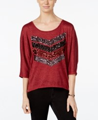 Miss Chievous Juniors' Sequined Chevron Dolman Sleeve T Shirt Pinot Noir