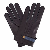 Gizelle Renee Alfie Mens Navy Leather Gloves With Blue Tweed