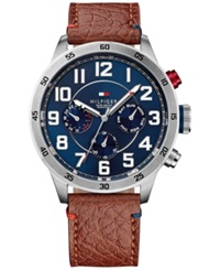 Tommy Hilfiger Men's Brown Leather Strap Watch 46Mm 1791066