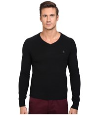 Original Penguin P55 100 Lambswool V Neck Sweater True Black Men's Sweater