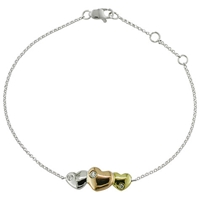 Ewa 9Ct Mixed Gold Triple Heart Diamond Bracelet