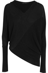 Donna Karan Asymmetric Cashmere Hooded Sweater