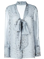 Agnona Sheer Printed Pussy Bow Blouse Blue