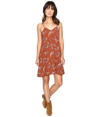 Brigitte Bailey Clementine Paisley Floral Print Spaghetti Strap Dress Rust Women's Dress Red