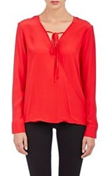 Barneys New York Self Tie Surplice Blouse Red Size 0 Us