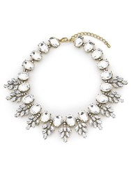 Jacques Vert Crystal Stone Necklace Silver Metallic