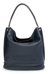 Longchamp '3D' Leather Hobo Blue Midnight