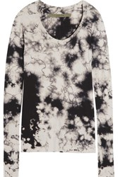 Enza Costa Printed Cotton And Cashmere Blend Top Black