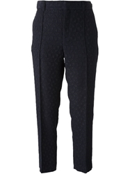 Paul By Paul Smith Cropped Jacquard Trousers Blue