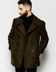 Gloverall Peacoat In Wool Green