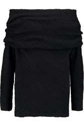 Donna Karan Pointelle Knit Cashmere And Silk Blend Sweater Black