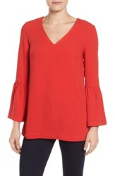 Halogenr Women's Halogen Bell Sleeve Tunic Red Mars