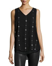 Neiman Marcus Embroidered Chiffon Tank Black