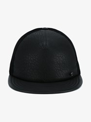 Maison Michel Nick Leather And Mesh Baseball Hat Black Denim