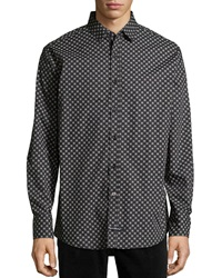 English Laundry Long Sleeve Check Print Poplin Shirt Black