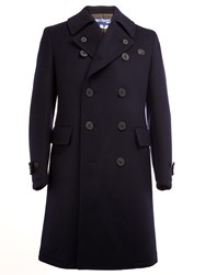 Junya Watanabe Comme Des Garcons Man Buttoned Lapels Double Breasted Coat Blue