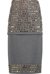 Donna Karan Layered Embellished Jersey Midi Skirt Gray