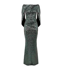 Talbot Runhof Cape Back Sequin Gown Female Green