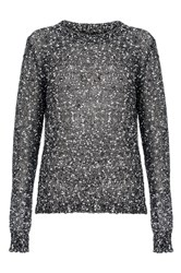Quiz Black Sequin Knit Bow Back Jumper
