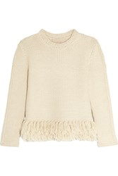 Vanessa Bruno Fluidity Tasseled Waffle Knit Alpaca Sweater Cream