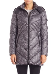 Rainforest Trompe L'oeil Print Puffer Coat Black Grey