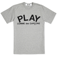 Comme Des Garcons Play Text Logo Tee Grey And Black