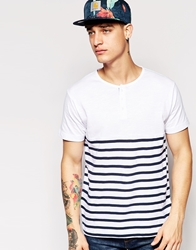 Pullandbear Breton T Shirt With Stripes And Grandad Collar White