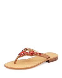 Ivanka Trump Palla Jeweled Leather Thong Sandal Light Red