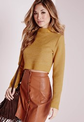 Missguided Long Sleeve Turtle Neck Crop Jumper Yellow Yellow