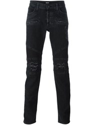 Hudson Distressed Skinny Jeans Black
