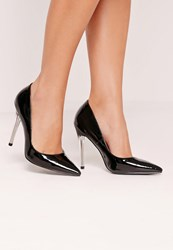 Missguided Perspex Heel Patent Court Shoes Black Black