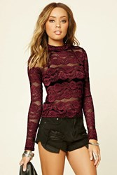 Forever 21 Floral Embroidered Mesh Top