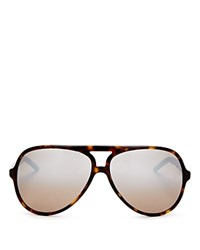 Marc Jacobs Aviator Sunglasses 60Mm Dark Havana Dark Brown Mirror Silver