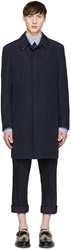 Thom Browne Navy Classic Ball Collar Overcoat