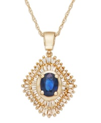 Macy's Sapphire 9 10 Ct. T.W. And Diamond 1 2 Ct. T.W. Pendant Necklace In 14K Gold Yellow Gold